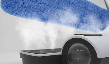 Moppy White soluzione per la pulizia con vapore e spazzolone senza filo - pulizia e igiene in 5 mosse